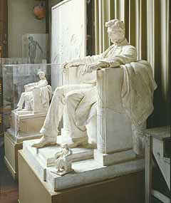 Seated Lincoln - Three models for the Lincoln Memorial statue by Daniel Chester French: the sketch in the foreground, the working model in the background, and the final model, all near the east wall. (Photographer - Ron Blunt)